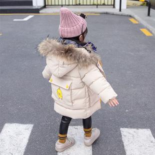 女宝宝棉衣20184女童1棉服2儿童3岁冬装中长款洋气棉袄外套潮