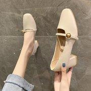 鞋子女2021年早春百搭玛丽珍女鞋中跟方头浅口单鞋粗跟高跟鞋