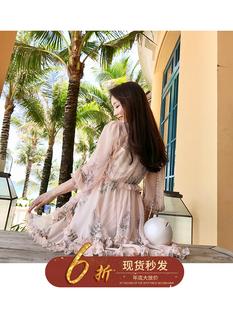 李雨薇 订制夏季宽松七分袖粉色碎花雪纺连衣裙木耳边仙女裙