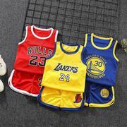 夏季儿童背心短裤套装无袖T恤男童女童篮球服球衣0-13岁宝宝衣服