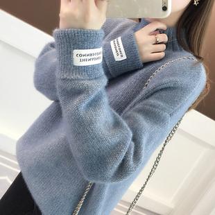 高领毛衣女2019春季宽松慵懒风很仙的洋气百搭加厚打底针织衫