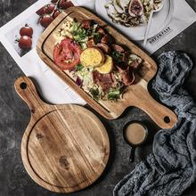牛排餐盘木质家用日式木盘长方形盘子西餐盘早餐餐具披萨木板托盘