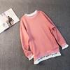 卫衣女套头2019春季刺绣拼接假两件汗衫宽松显瘦长袖撞色