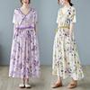 文艺复古印花棉麻短袖连衣裙夏季收腰抽绳宽松显瘦气质大摆长裙子