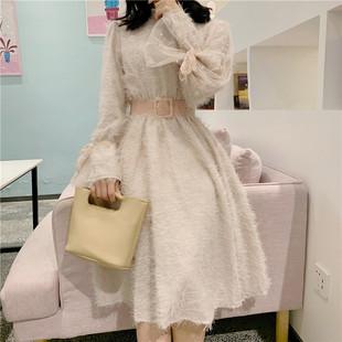 韩国chic冬季钉珠网纱长袖拼接中长款毛毛流苏连衣裙女配腰带