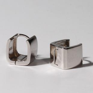 欧美纯银耳钉男女款 简单帅气中性光面耳扣 冷淡风全包高级感耳环