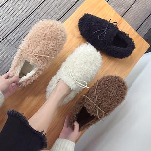 毛毛鞋女冬2018百搭一脚蹬外穿平底加绒棉鞋学生豆豆鞋子