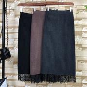 秋冬开叉一步毛线裙半身裙女2018加厚中长款蕾丝针织包臀裙潮