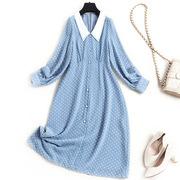 欧洲站碎花连衣裙2021春款女装洋气波点裙子中长款蓝色雪纺衬衫裙