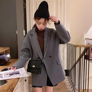 秋季女装chic港味复古中长款小西装宽松百搭正装西服外套