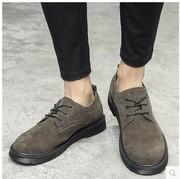 冬季反绒皮圆头皮鞋真皮复古翻毛皮男鞋磨砂低帮鞋子马丁靴潮
