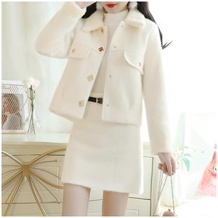 法式优雅名媛气质小香风毛呢两件套女秋冬季时髦港味时尚套装裙子