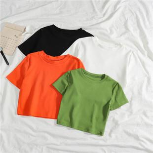 短袖T恤女短款纯色露脐紧身心机小众抹茶牛油果绿超火cec上衣