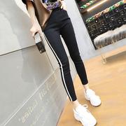 黑色运动休闲裤女夏季九分薄款冰丝外穿打底裤修身显瘦小脚哈伦裤