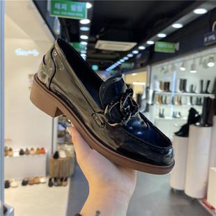 韩国漆皮亮面英伦风小皮鞋女2021春季金属链懒人套脚休闲粗跟单鞋