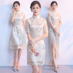 旗袍式2019女夏季时尚少女短款日常中国风年轻款改良版连衣裙