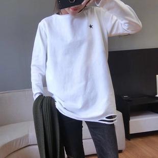 2019早春女装中长款加绒破洞白色打底衫长袖T恤内搭上衣