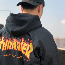 Thrasher Hooded Coaches Jacket日版火焰Logo连帽教练夹克外套男