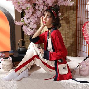 睡衣女秋冬长袖纯棉卡通日式睡衣三件套春秋季和服家居服女套装