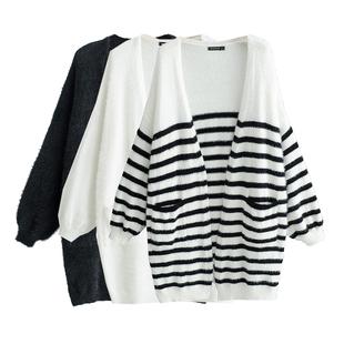 2018冬季欧美风大版宽松条纹长袖双口袋针织开衫女士毛衣外套