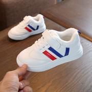 秋冬男童白鞋女童白色运动鞋学生幼儿园儿童小白鞋波鞋加绒棉童鞋