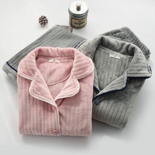 加厚加绒保暖睡衣女士男冬季法兰绒长袖长裤开衫情侣家居服套装