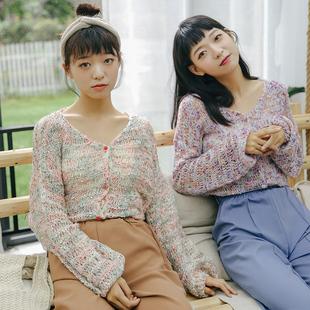 慕兔学生彩色针织开衫外套女春季2019 韩范ulzzang上衣闺蜜装