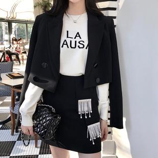 韩雨嘉春季2019气质chic短款黑色西装外套流苏半裙套装女