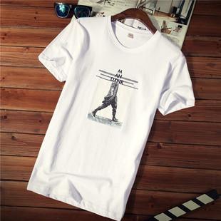 男士短袖t恤夏季圆领衣服潮流纯棉大码夏装白色体恤男装
