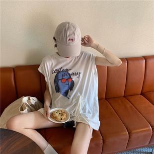 夏装无袖T恤女ins潮复古印花宽松显瘦百搭中长款破洞上衣
