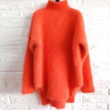 秋冬橘红色高领宽松套头仿貂绒毛衣橙色针织衫加厚外套女