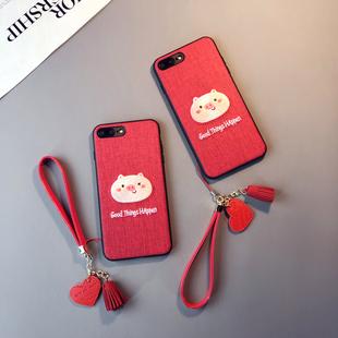 红色刺绣猪款iphone6s plus手机壳苹果Xs max本命年8情侣7挂绳女XR六七八软胶套保护套防摔新日韩pone潮卡通