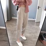 秋冬哈伦裤宽松直筒阔腿针织奶奶裤网红加厚萝卜裤女高腰