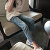 2018秋冬加绒网红高腰宽松直筒牛仔裤女九分学生显瘦八分阔腿