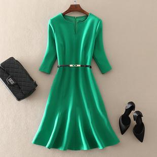 2019春装高端气质女装中长款欧美大牌显瘦绿色显瘦连衣裙