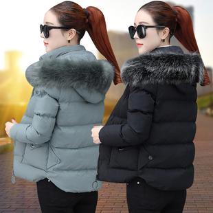 短款棉衣女2018冬季冬装毛领小棉袄加厚外套时尚羽绒棉服