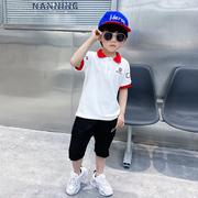 青蛙王子旗艦店潮衣米西果男童夏装套装2021韩版童装两件套帅