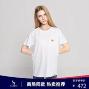 Hazzys哈吉斯短袖圆领T恤女士纯棉2021春夏季时尚白色体恤衫