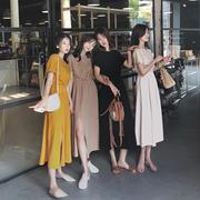 南瓜谷 T恤裙连衣裙女2019夏收腰显瘦气质中长款开叉裙子