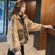 秋冬女装宽松羊羔毛外套学生保暖豹纹拼接牛仔短款加厚夹克