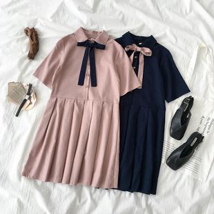 高腰连衣裙夏季2019女装polo领绑带短袖娃娃百褶短裙子