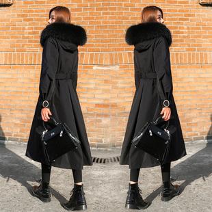 羽绒服女过膝长款2018冬季气质大毛领黑色显瘦白鸭绒加厚外套