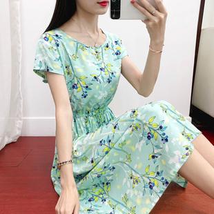 棉绸连衣裙女夏季中长款短袖显廋时尚碎花大摆裙人造棉沙滩裙