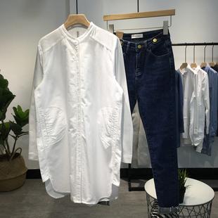 2019春季纯棉牛津纺白衬衫女宽松大码显瘦长袖中长款上衣