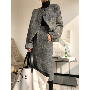 ADE2018秋冬优雅复古气质提花人字纹羊毛大衣两件套女套装裙