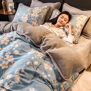 冬季珊瑚绒四件套双面绒加厚法兰绒法莱绒网红女床上用品被套床单