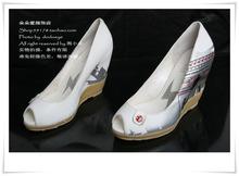欧美女鞋真皮羊皮鱼嘴白色防水台坡跟女单鞋春鞋低帮鞋高跟鞋