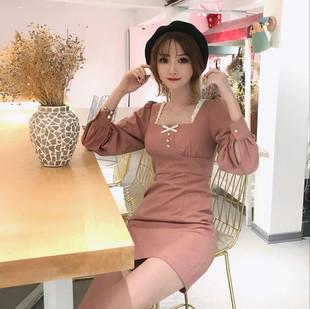 Fairy Chess-bi买尤物款自制秋冬复古方领蕾丝连衣裙
