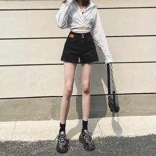 超高腰牛仔短裤女夏2021年黑色宽松显瘦网红a字阔腿热裤潮ins