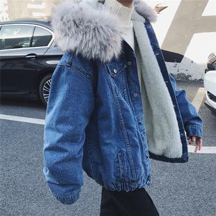旋律风车牛仔棉衣男加厚冬季大毛领棉服连帽宽松羊羔毛外套潮